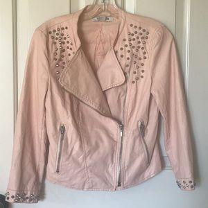 Faux Studded Leather Jacket